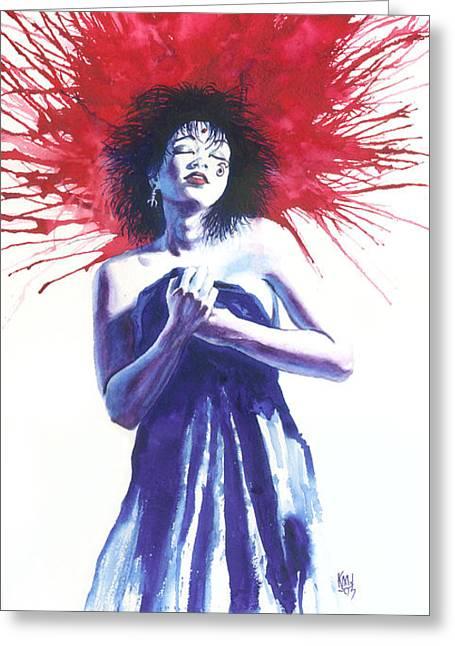 Vertigo Paintings Greeting Cards - Miss D Greeting Card by Ken Meyer jr