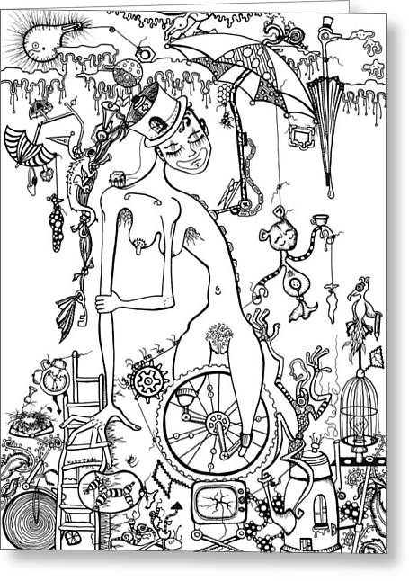 Carnie Greeting Cards - Miss Millies Greatest Show On Earth ILLUSTRATION Greeting Card by Kelly Jade King