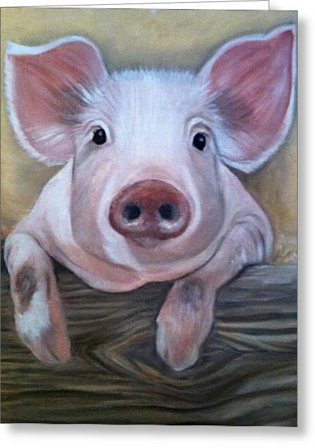 Pig Pastels Greeting Cards - Miss Piggy Greeting Card by Stephanie L Carr