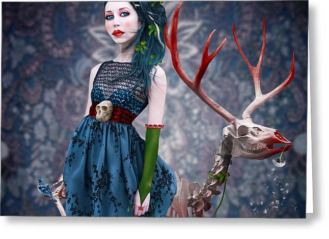 Daydream Greeting Cards - Miss Ruby and her pet Greeting Card by Ausra Kel