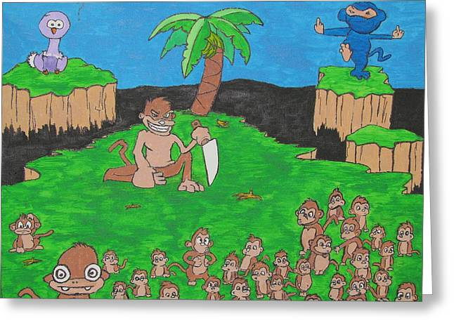 Angry Crowd Greeting Cards - Missing Bananas  Greeting Card by Duy Tran
