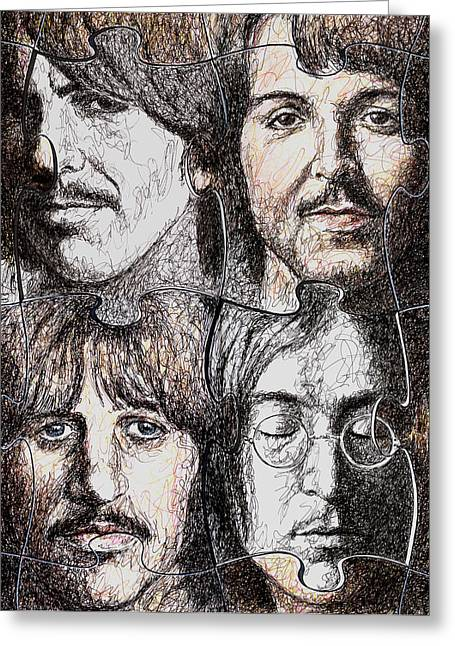 Beatles John Lennon Paul Mccartney George Harrison Ringo Starr Music Rock Icon Greeting Cards - Missing Pieces Greeting Card by Maria Arango
