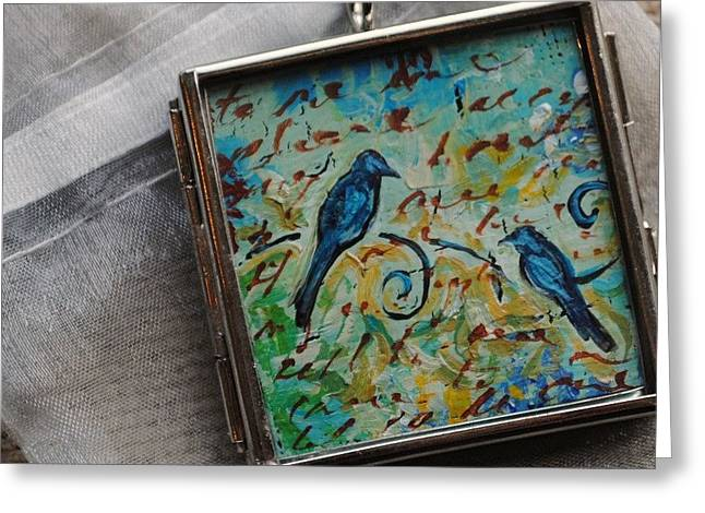 Blue Art Jewelry Greeting Cards - Missing You Greeting Card by Dana Marie