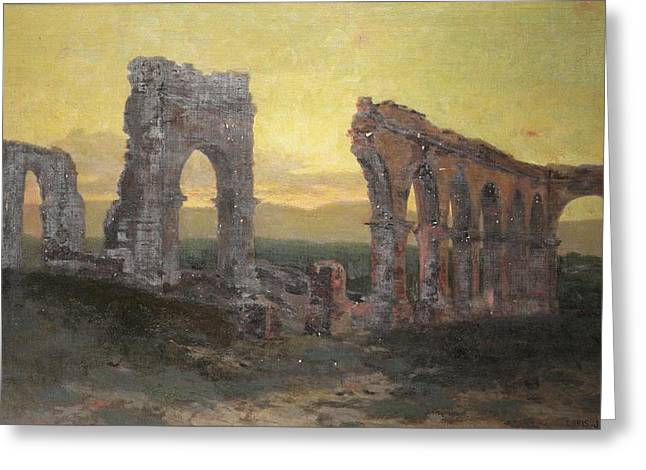 Ruins Paintings Greeting Cards - Mission Arcades Greeting Card by Christian Jorgensen