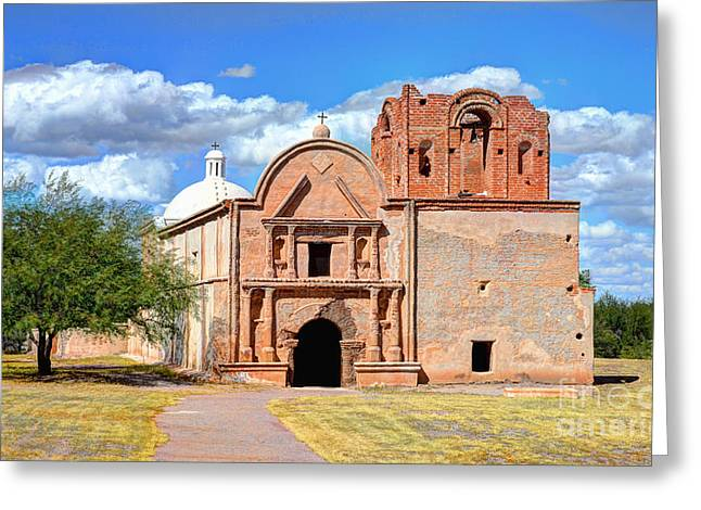 Minster Abbey Greeting Cards - Mission at Tumacacori Greeting Card by Donna Van Vlack