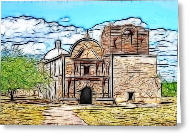 Minster Abbey Greeting Cards - Mission at Tumacacori Fractal Greeting Card by Donna Van Vlack