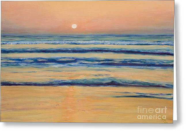 Best Sellers -  - Pacific Ocean Prints Greeting Cards - Mission Beach Evening Greeting Card by Julie Kreutzer