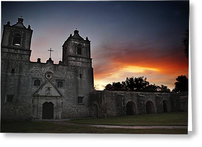 Unrestored Greeting Cards - Mission Concepcion at Sunrise Greeting Card by Melany Sarafis
