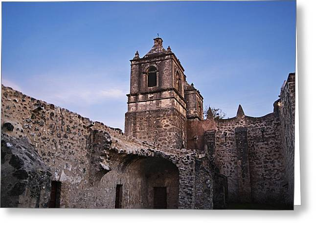 Unrestored Greeting Cards - Mission Concepcion Courtyard Greeting Card by Melany Sarafis