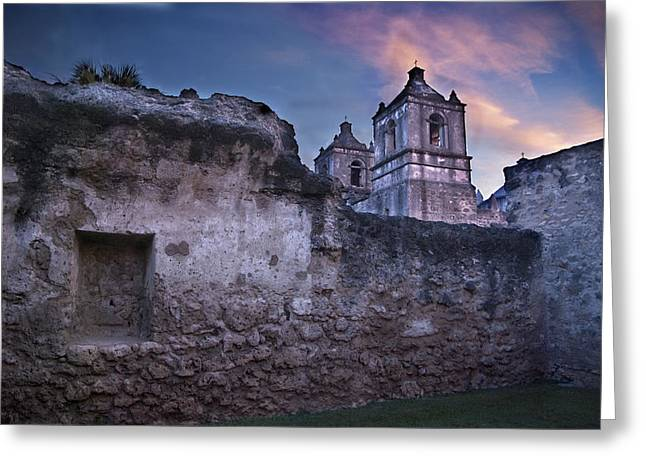 Unrestored Greeting Cards - Mission Concepcion Early Morning Greeting Card by Melany Sarafis