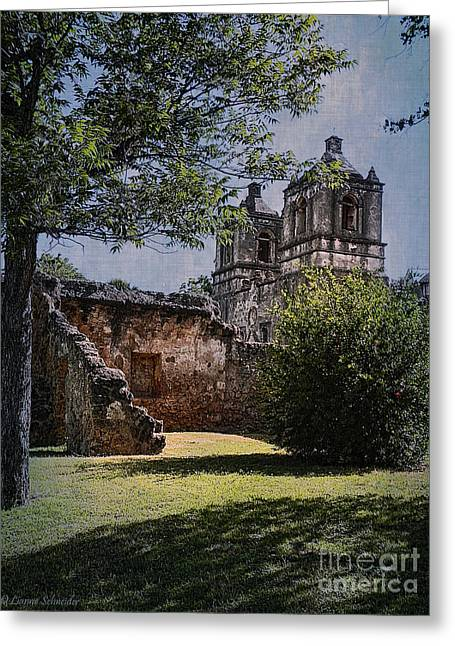 Lianne Schneider Fine Art Print Greeting Cards - Mission Concepcion Greeting Card by Lianne Schneider