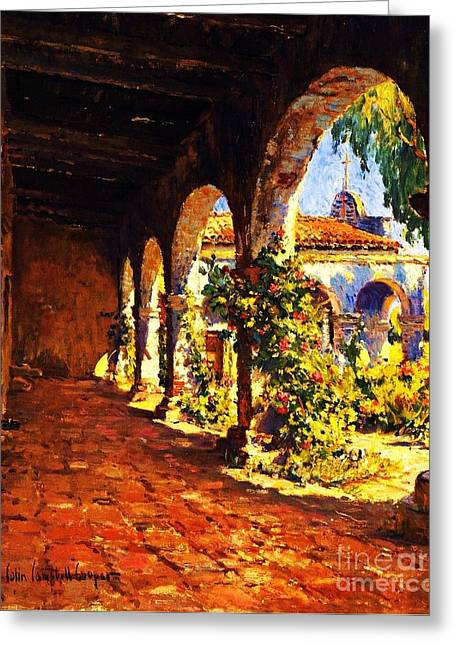 Print On Canvas Greeting Cards - Mission Corridor San Juan Capistrano Greeting Card by Pg Reproductions