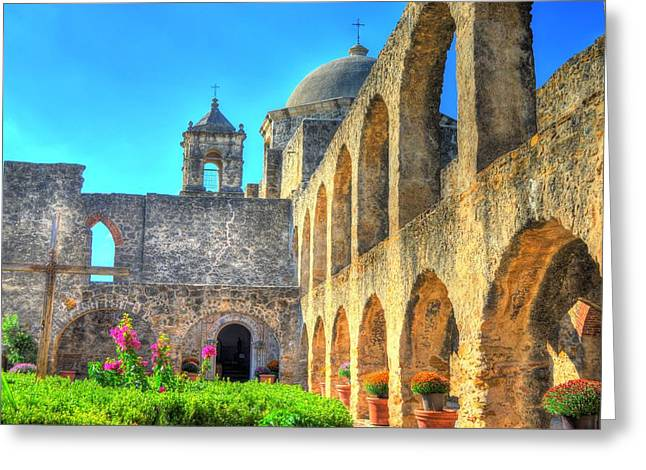 Architecture Greeting Cards - Mission Courtyard Greeting Card by David Morefield