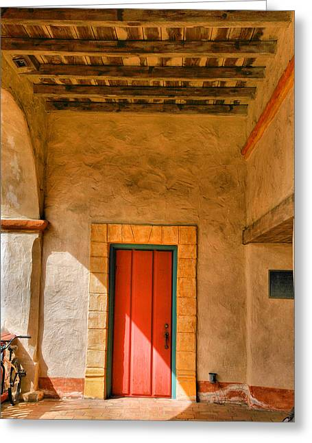 Historic Architecture Greeting Cards - Mission Door Greeting Card by Steven Ainsworth