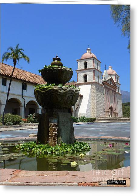Mission Fountain Greeting Card by Methune Hively