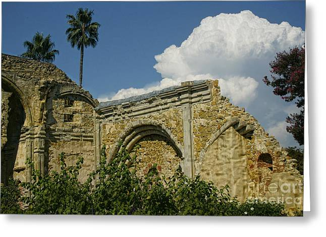Mission Ruins Greeting Card by Diana Cox