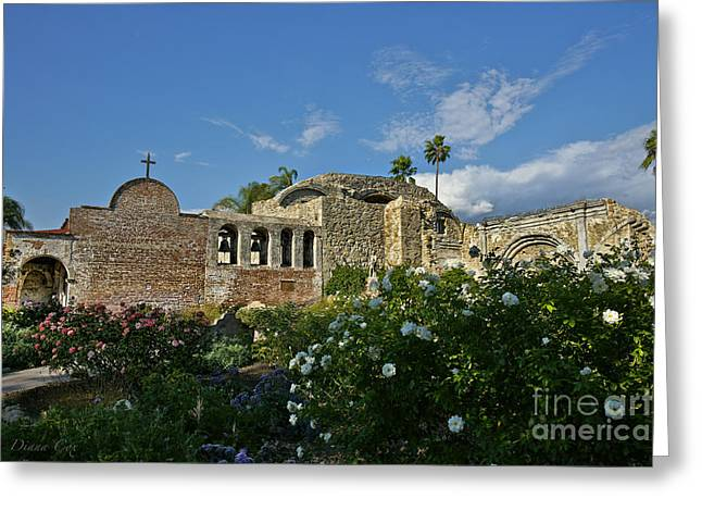 Mission San Juan Capistrano Greeting Card by Diana Cox