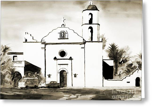 Roman Mixed Media Greeting Cards - Mission San Luis Rey BW Greeting Card by Kip DeVore