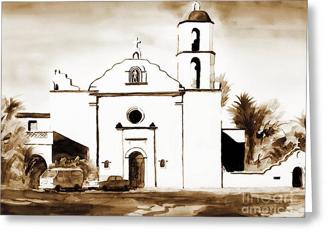 Roman Mixed Media Greeting Cards - Mission San Luis Rey in Sepia Greeting Card by Kip DeVore
