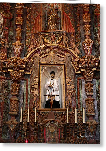 Spanish Art Sculpture Greeting Cards - Mission San Xavier del Bac Altar Greeting Card by Suzanne Gaff