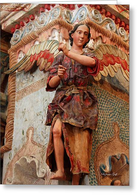 Terra Cotta Sculpture Greeting Cards - Mission San Xavier del Bac - Angel detail II Greeting Card by Suzanne Gaff