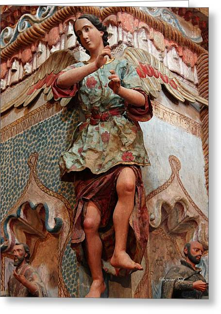Spanish Art Sculpture Greeting Cards - Mission San Xavier del Bac - Angel detail  Greeting Card by Suzanne Gaff