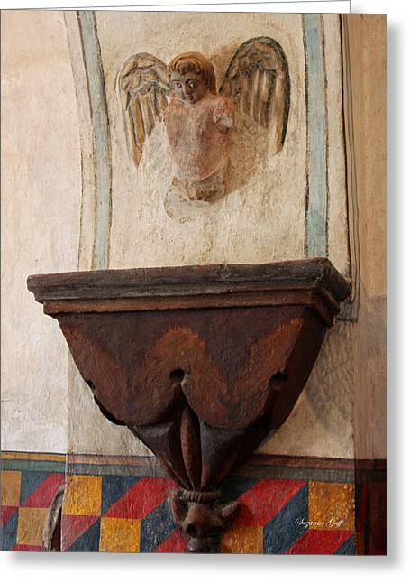 Wooden Sculpture Greeting Cards - Mission San Xavier del Bac - Angel Gargoyle Greeting Card by Suzanne Gaff