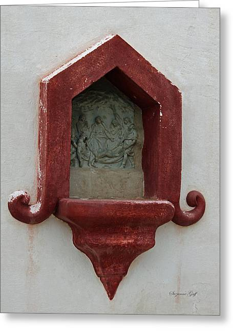 Spanish Art Sculpture Greeting Cards - Mission San Xavier del Bac - carving detail Greeting Card by Suzanne Gaff