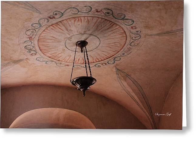 Southwest Church Greeting Cards - Mission San Xavier del Bac - Ceiling detail Greeting Card by Suzanne Gaff
