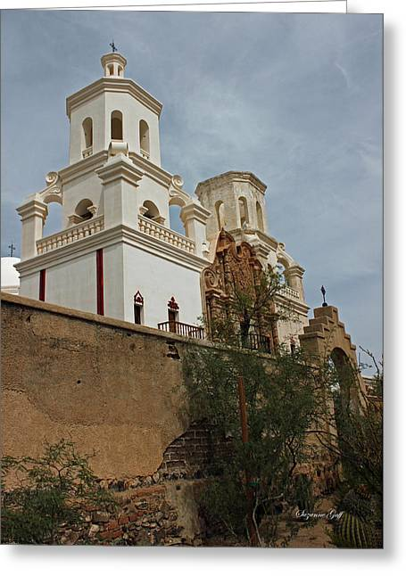 Catholic Mission Greeting Cards - Mission San Xavier del Bac II Greeting Card by Suzanne Gaff