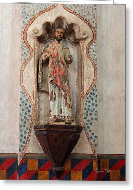 Religious Art Photographs Greeting Cards - Mission San Xavier del Bac - Interior Sculpture Greeting Card by Suzanne Gaff