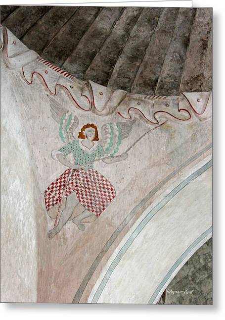 Southwest Church Greeting Cards - Mission San Xavier del Bac - Painting detail Greeting Card by Suzanne Gaff