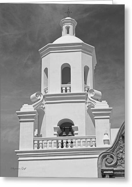Southwest Church Greeting Cards - Mission San Xavier del Bac - Steeple detail in Black and White Greeting Card by Suzanne Gaff