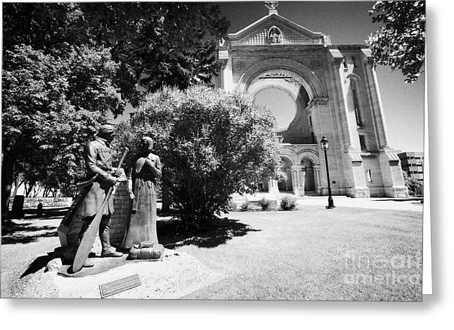 Quartier Greeting Cards - Missionary And Voyageur Sculpture Representing Early Canada In The Grounds Of Saint Boniface  Greeting Card by Joe Fox