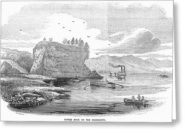 1854 Greeting Cards - Mississippi River, 1854 Greeting Card by Granger