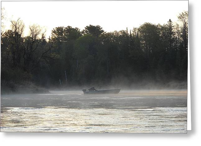 Mississippi River Pyrography Greeting Cards - Mississippi river fisherman at dawn Greeting Card by Kent Lorentzen