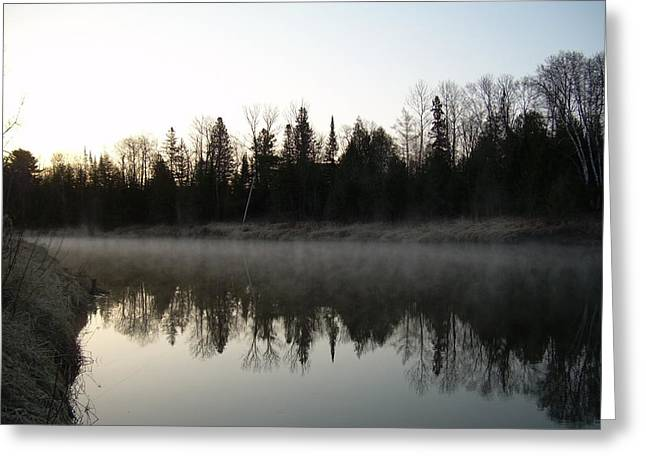 Mississippi River Pyrography Greeting Cards - Mississippi river fog reflection Greeting Card by Kent Lorentzen