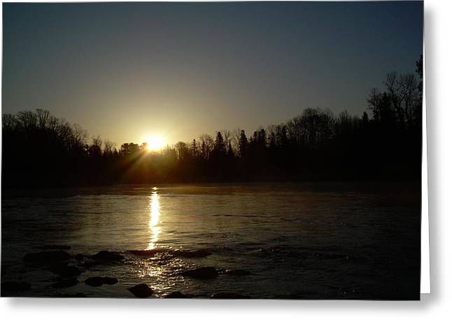 Mississippi River Pyrography Greeting Cards - Mississippi river Golden Sunrise Greeting Card by Kent Lorentzen