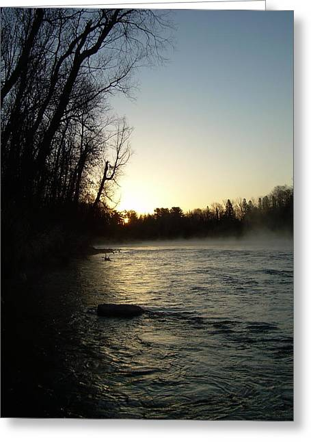 Mississippi River Pyrography Greeting Cards - Mississippi river Sunrise shadow Greeting Card by Kent Lorentzen