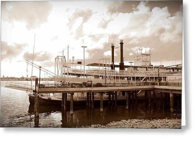 Steamboat Greeting Cards - Mississippi Riverboat Greeting Card by Bill Cannon