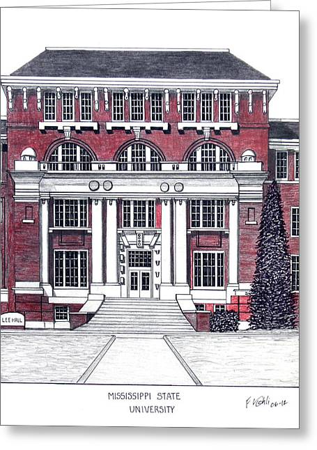 Pen And Ink Framed Prints Mixed Media Greeting Cards - Mississippi State University Greeting Card by Frederic Kohli