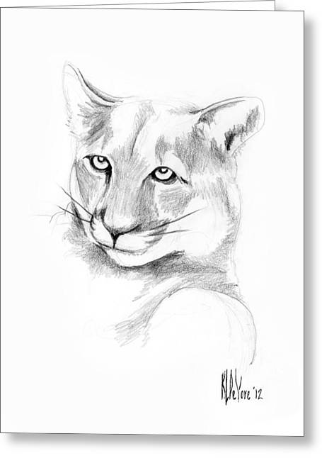 Wild Life Drawings Greeting Cards - Missouri Mountain Lion  Greeting Card by Kip DeVore