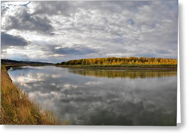 Missouri River Autumn Panoramic Greeting Card by Leland D Howard