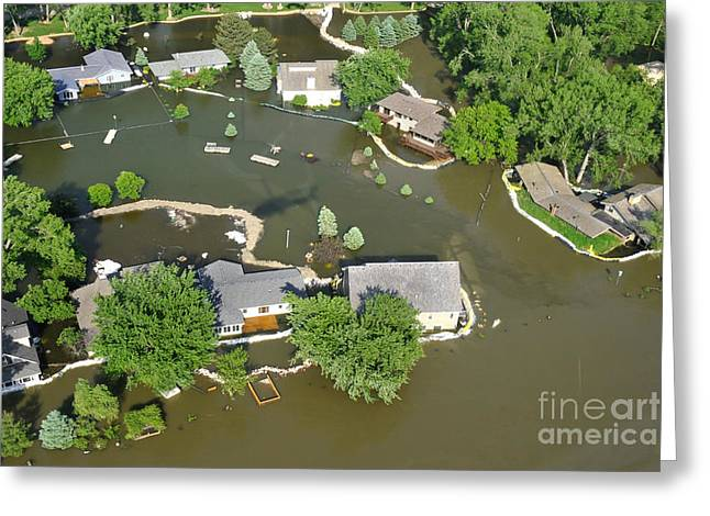 Missouri River Greeting Cards - Missouri River Encroaches On Homes Greeting Card by Stocktrek Images