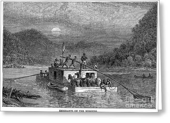 Missouri River: Flatboat Greeting Card by Granger