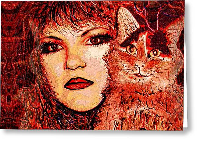 Eyebrow Mixed Media Greeting Cards - Missy and I Greeting Card by Natalie Holland