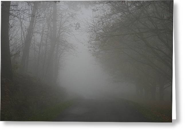 Foggy Day Greeting Cards - Mist Fog and the road Greeting Card by Nomad Art And  Design