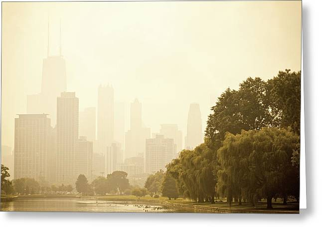 Best Sellers -  - Nature Center Pond Greeting Cards - Mist over Downtown Chicago Greeting Card by Andria Patino