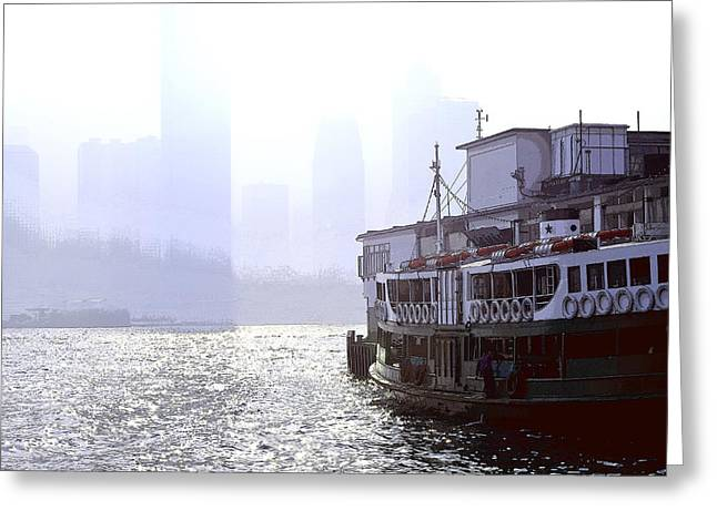 Mist Over Victoria Harbour Greeting Card by Enrique Rueda