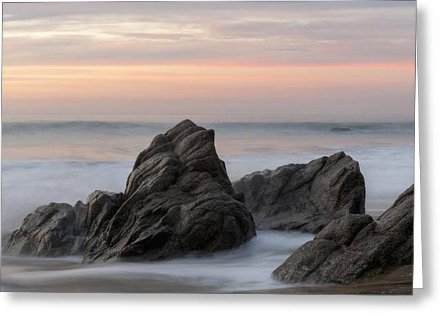 Mist Surrounding Rocks In The Ocean Greeting Card by Keith Levit